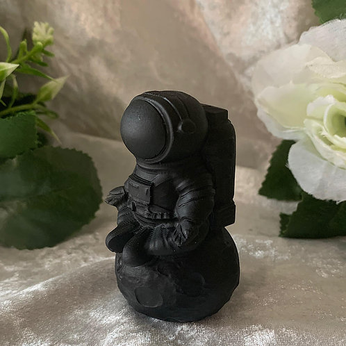 Black Obsidian Astronaut on the Moon