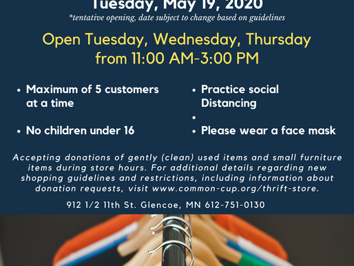 Thrift Store Opening on May 19!