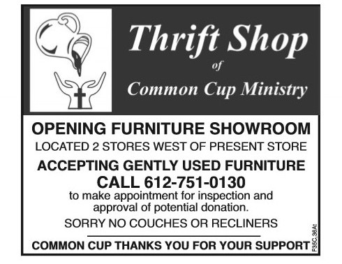 Accepting Used Furniture for Glencoe Thrift Shop