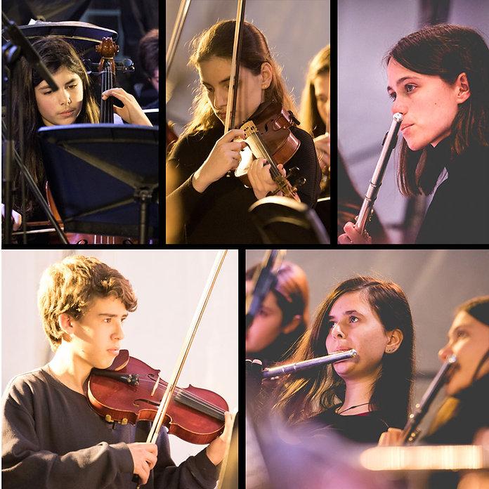 קולאז׳ של בני נוער מנגנים בכלי נגינה