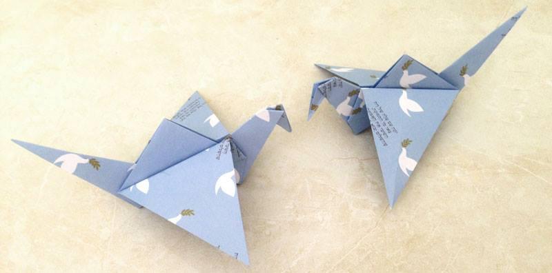 יונים עשויים אוריגמי - ברכה לראש השנה