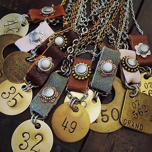 Vintage Leather Tool Tag Necklace