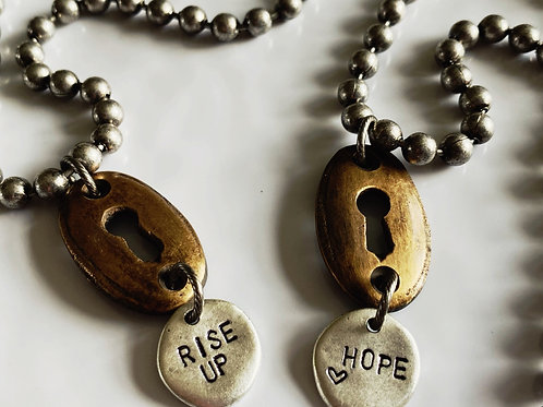 Hand Stamped Ball Chain Keyhole