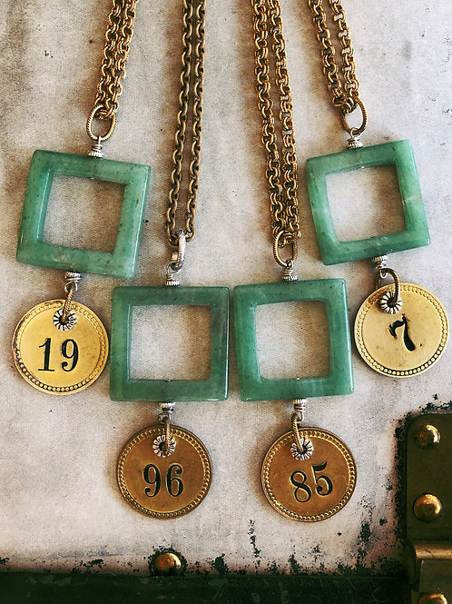 Vintage Jade Tool Tag Necklace