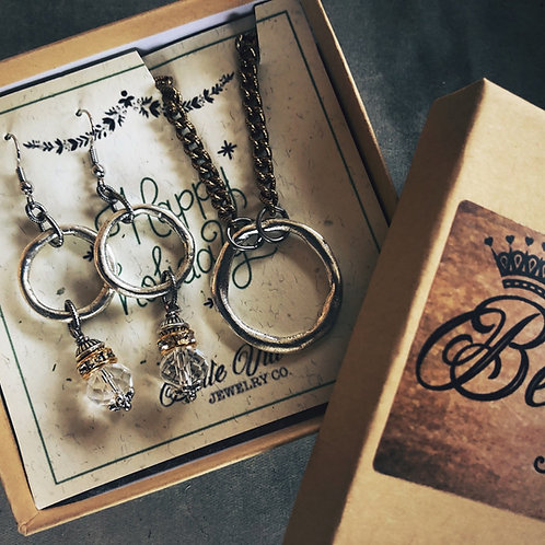 Simple Ring Necklace & Earring Gift Box