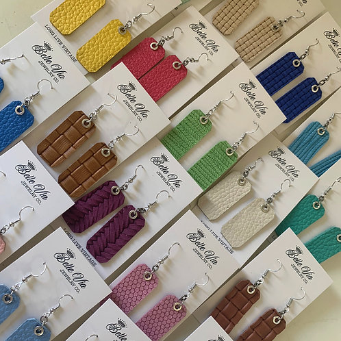 Textured Spring Leather Earrings (3 Styles)
