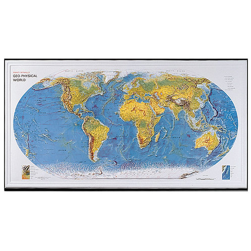 Geophysical World Relief Map With Framed