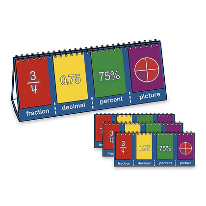NASCO Fractions & Equivalence Tabletop Student Flip Charts, Set of 10 - Student