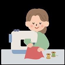 ミシンで裁縫する女性