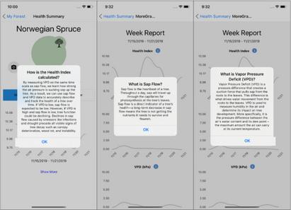 App information screens
