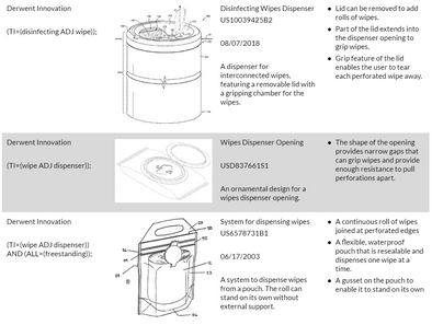 Current wipe dispensing patents