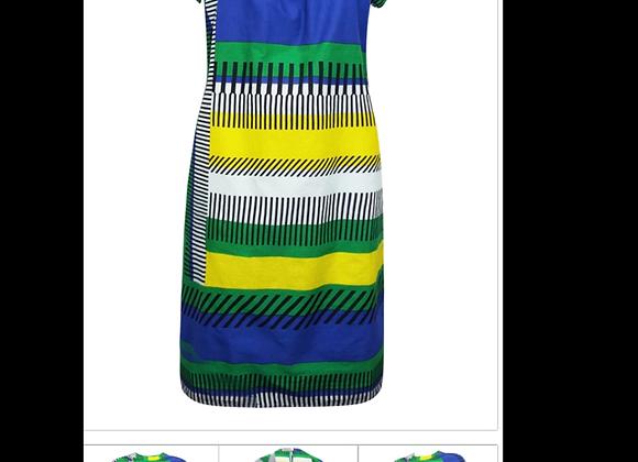 Grace BLUE-MULTI Pure Cotton Open Pleat Printed Shift Dress - Size 10 to 18