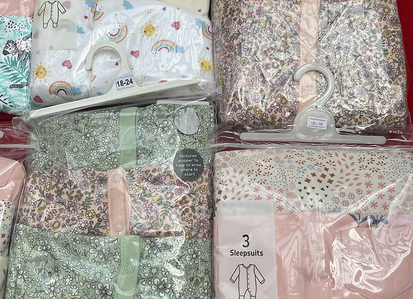 Ex Major HighStreet Baby Sleepsuits 3 pack - £4.50 £108.00 (inc VAT)