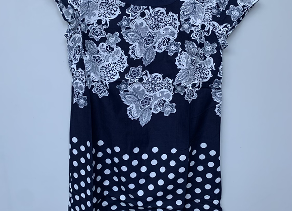 Grace NAVY Dual Print Lace & Spotted Shift Dress - Size 10 to 18