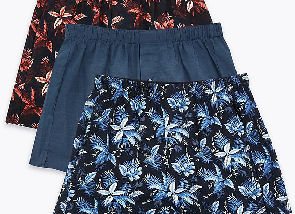 3pcs (in 1 Pack) Pure Cotton StayNew Printed Boxers 50pack/£180