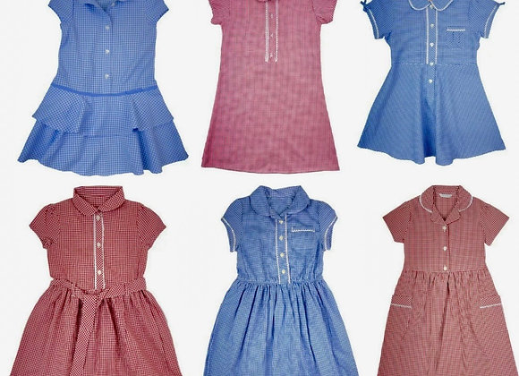GIRLS BLUE / RED / LILAC/ GREEN/ YELLOW GINGHAM CHECKED SCHOOL SUMMER DRESS £2.0