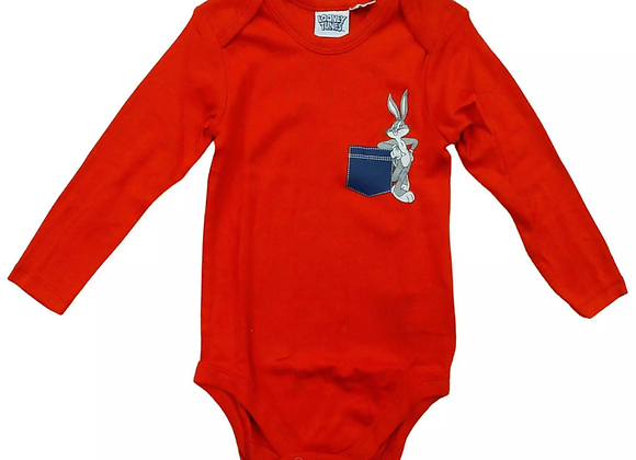 Baby PACK OF 2 Looney Tunes Bugs Bunny Long Sleeve Bodysuit Vests 2 to 24 Months