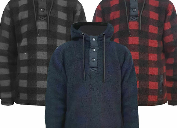 Mens Fluffy Teddy Lumberjack Fleece Lined Hoodie Pullover Jacket Hooded Jumper
