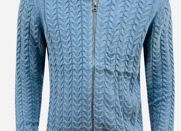 Mens Ex - store Full Zip Cardigan Chunky Cable Knit Thick Weave Fisherman Jumper