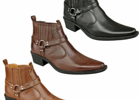 Mens Ankle Cowboy Biker Boots New Smart Chelsea Western Harness £3.50