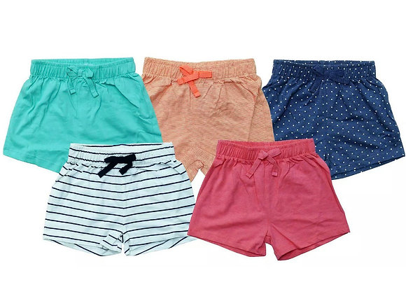 Girls Shorts Value 5 Pairs  Ex Next Cotton Spot Plain Stripe 3 Months - 6 Years