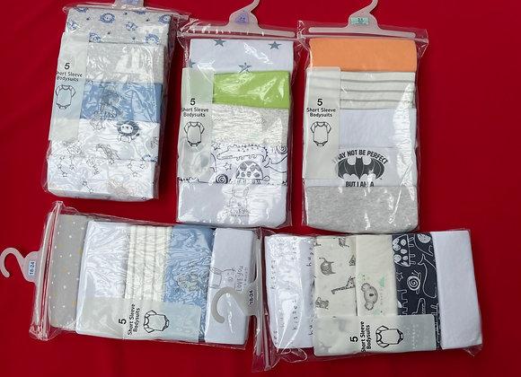Ex Major HighStreet Baby Boys Short Sleeve 5 pack Bodysuits - £3.50