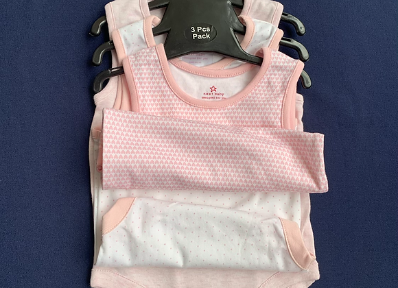 Ex Next Baby girls   3 pack of body suit vests Newborn - 3 Years