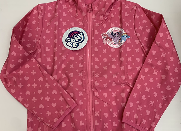 Girls Pink Pvc Rain Coat Hooded Jacket Peacocks Sequin Summer Lined Kids