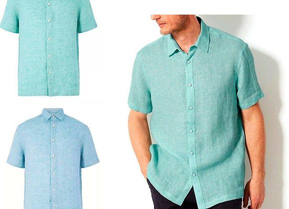 Men's Shirts Pure Linen Relaxed Fit Shirt Top Shirt Men's Clothing £5