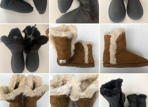 Younger Girl Camel & Black color Toggle Snug Boots £3