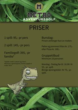 Prisliste Adventure Golf