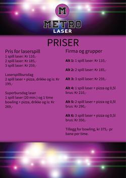 Prisliste Lasertag