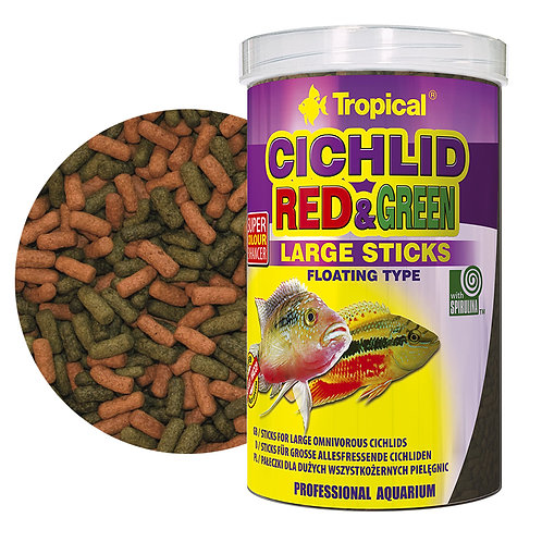 """Cichlid Red & Green Large Sticks """"Tropical"""" 1000ml"""