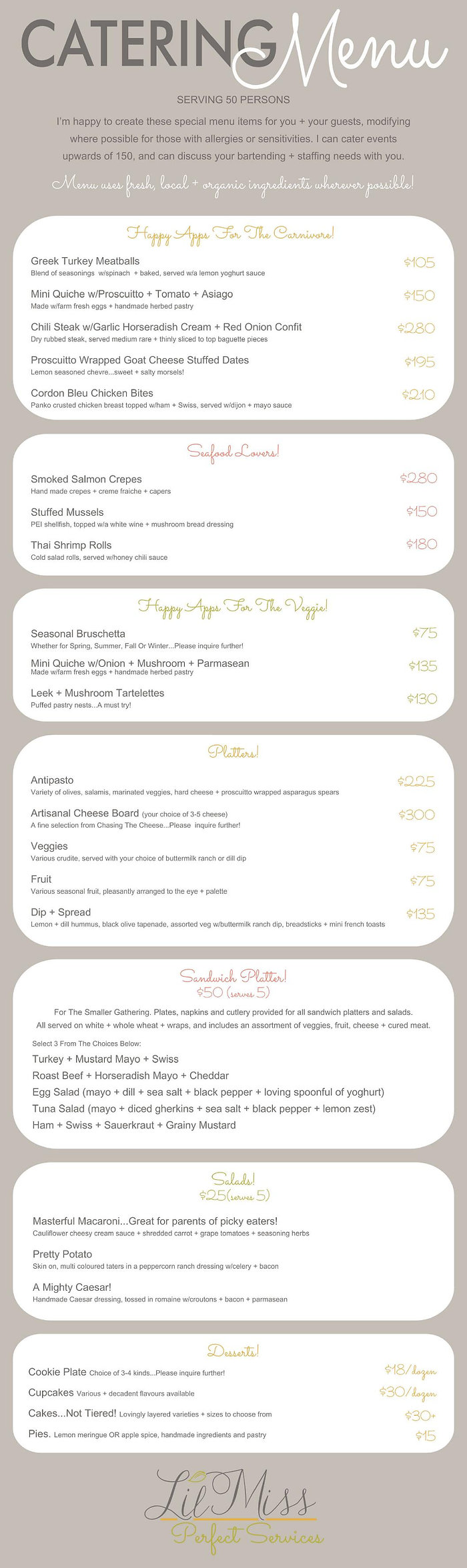 Lyndele Gauci lilmissperfect menu revise