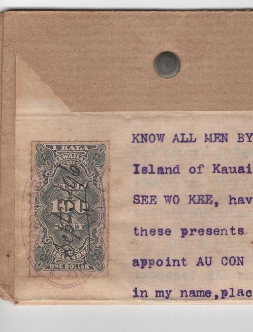 C492  1896 Kauai Document