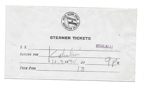 Hawaii Steamer Tickets Envelope