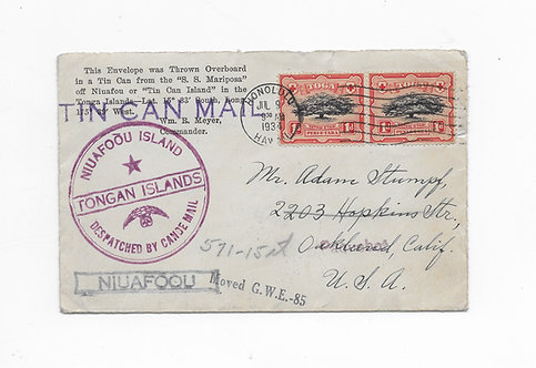 CA92* 1934 Cancel on Tongan Tin Can Mail