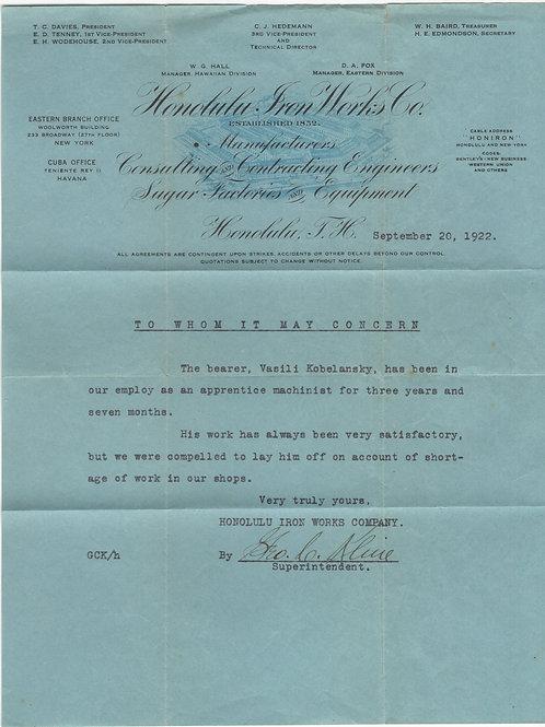 C366 Honolulu Iron Works Letter
