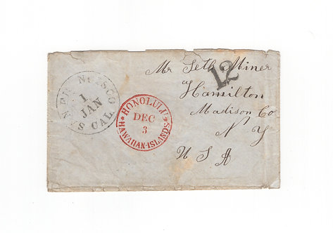 C506  HI 1850's Stampless Cover