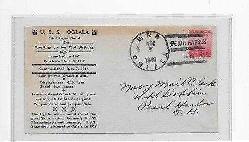 U.S.S. Oglala Cover - 12/7/1940