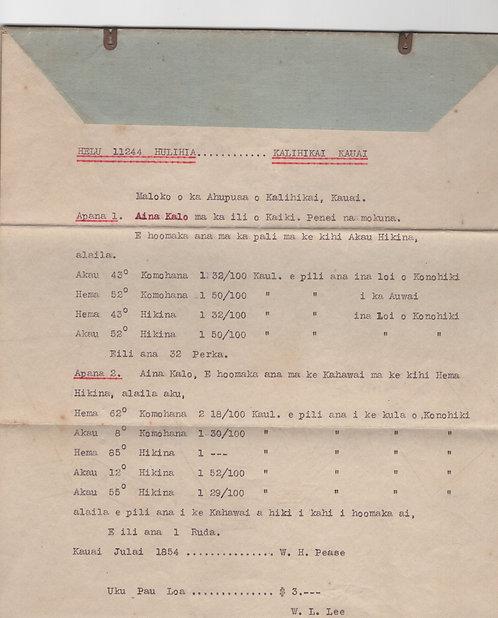 C493 Kalihikai, Kauai Document