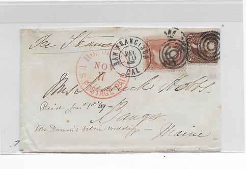 CA104* 1866 Cover HI to Maine