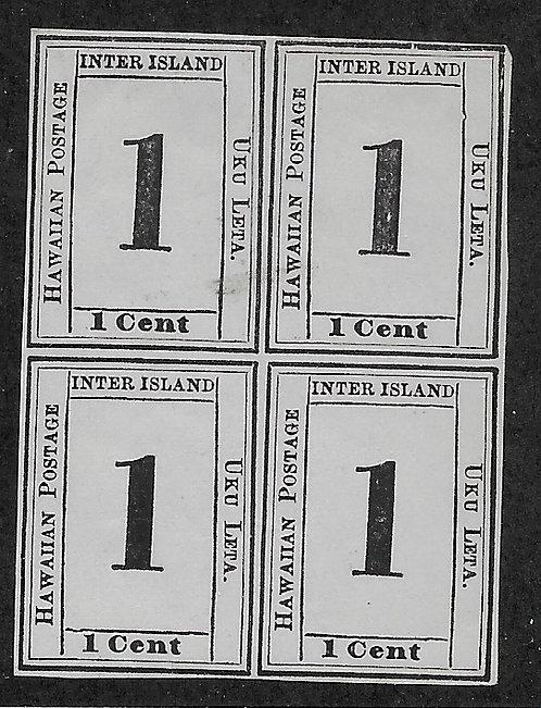 20-9 Hawaii 1¢ Reprint Block