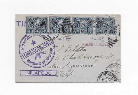 CA94* 1934 Cancel on Tongan Tin Can Mail