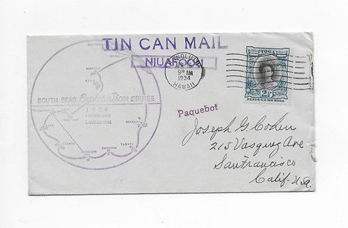 1934 Cancel on Tongan Tin Can Mail