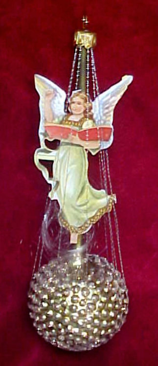 #1341-029 - Wire Wrapped Angel on Studded Ball, Green/Gold