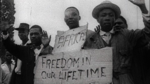 South African protestors demanding freedom in our lifetime.