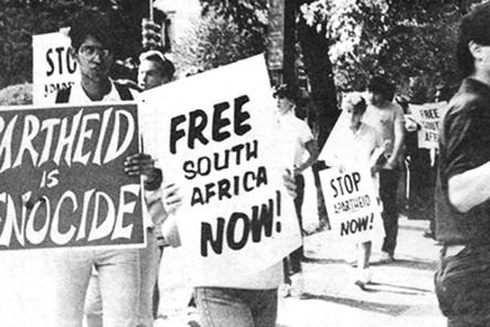 An anti apatheid rally in 1985.