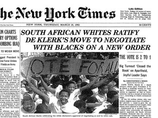 The New York Times front page declaring one of the many steps in the political process to full democracy for South Africa.