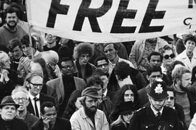 A political march against apartheid in London, England.